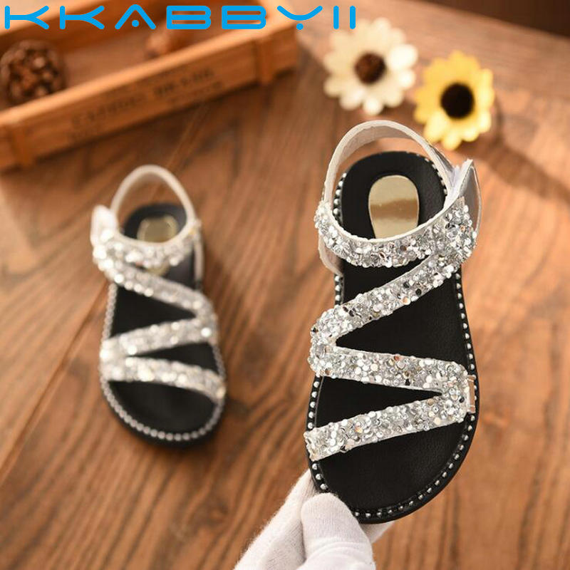 New Crystal Sandals Girls Shiny Summer Shoes Children Beach Sandals For Girls Princess Shoes Kids Size 26-36