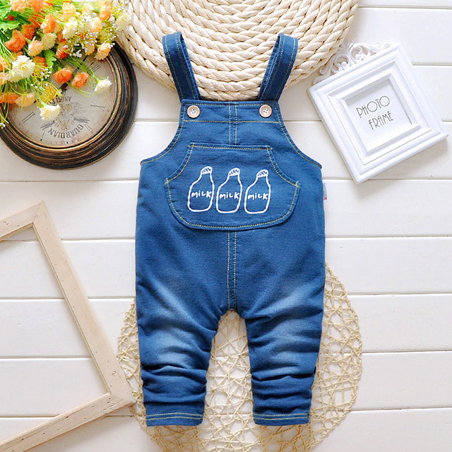 Free shipping 2016 new arrive cartoon children baby boy jeans suit kids baby girl casual suspender pant