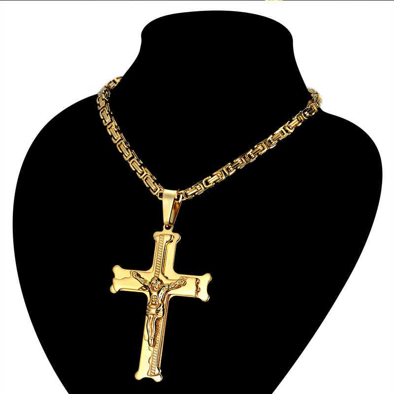 """Ze stali nierdzewnej mężczyzna bizantyjski łańcucha i wisiorek, 20 """"23"""" 26 """"mężczyzna złoty kolor jezus krzyż naszyjniki wisiorek dla mężczyzn"""