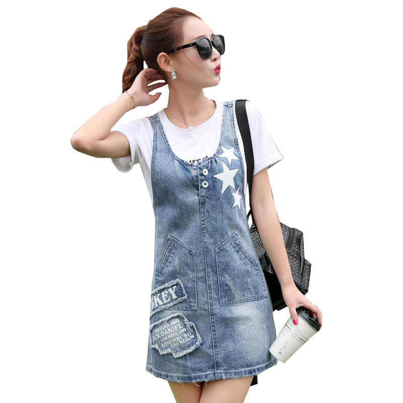 2018 new women denim dress girls Casual loose overalls denim sundress female  printed letters fashion kirean 4ac205af4085