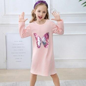 女の子スパンコールの女秋冬プリンセスコットンジャージードレス子供服子供の