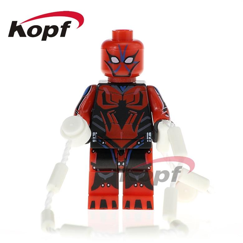 50Pcs PG341 Super Heroes Spider Man Mark 3 Green Goblin Spiderman G. W. Bridge Building Blocks Education Toys for children Model