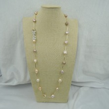100% NATURE FRESH-WATER Baroque PEARL NECKLACE-good quanlity-925 SILIVER accessories