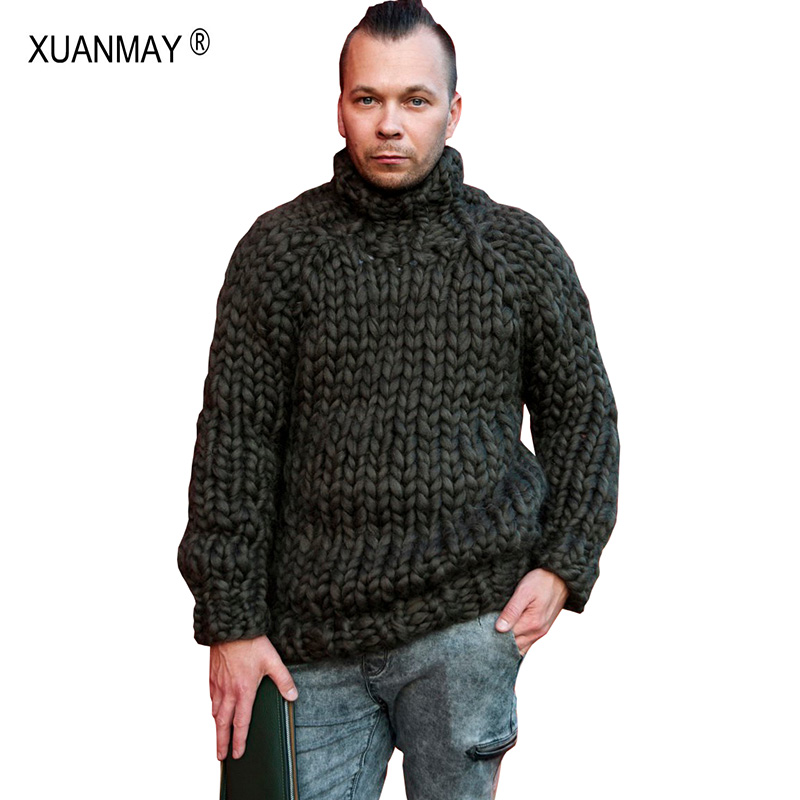 2019 Spring Super Chunky Men's Sweater Loose Casual Black Pullover Sweater Coat Thick Warm Hand-knitted Cool Men's Sweater