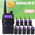 10 pcs 2 Rádios de Longo Alcance BaoFeng UV-5R 5 W Dupla banda VHF UHF Walkie Talkie Fone De Ouvido Handheld CB Radioamador fone de ouvido + Bateria