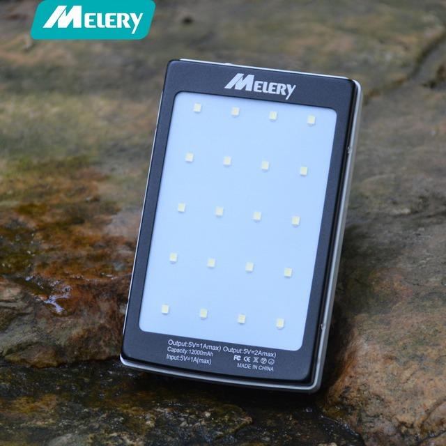 Portable Solar Power Bank 12000MAH bateria externa portatil Dual USB LED External Mobile Phone Battery Charger Backup Pow