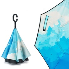 1PCS City Sky Reverse Double Layer Inverted Umbrella Self Stand Rain Protection Long Hands Folding For Car Fishing 15pcs windproof reverse folding double layer inverted chuva umbrella self stand inside out rain protection c hook hands for car