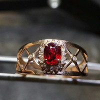 Gemstone K Gold Ring Hot Sale MEDBOO Brand 18k Gold Inlad Oval Natural Red Ruby Ring
