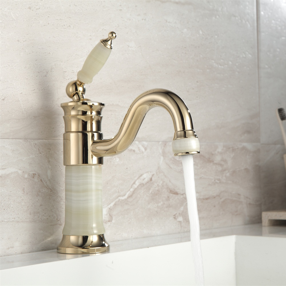 Marble Basin Us 54 02 20 Off Aliexpress Buy Free Shipping Brass Jade Body With Marble Basin Faucet Single Handle Gold Finish Basin Sink Mixers Taps Xt616