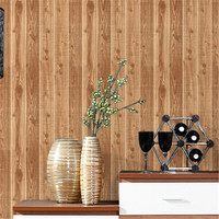 American Vintage PVC Wallpapers For Walls 3D Wood Striped Brick Wallpapers For Living Room Bedroom Wall
