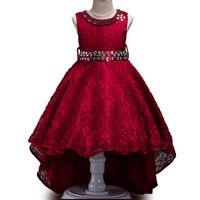 3 14T Flower Girl Trailing Wedding Dresses Girl High Quality Pearl Bright Drill Tutu Dress Lace