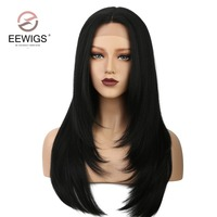 Yaki Straight Synthetic Lace Wig Long Natural Women's Lace Frontal Wig #1B Black Color Synthetic Lace Front Wigs Fully Hair 24