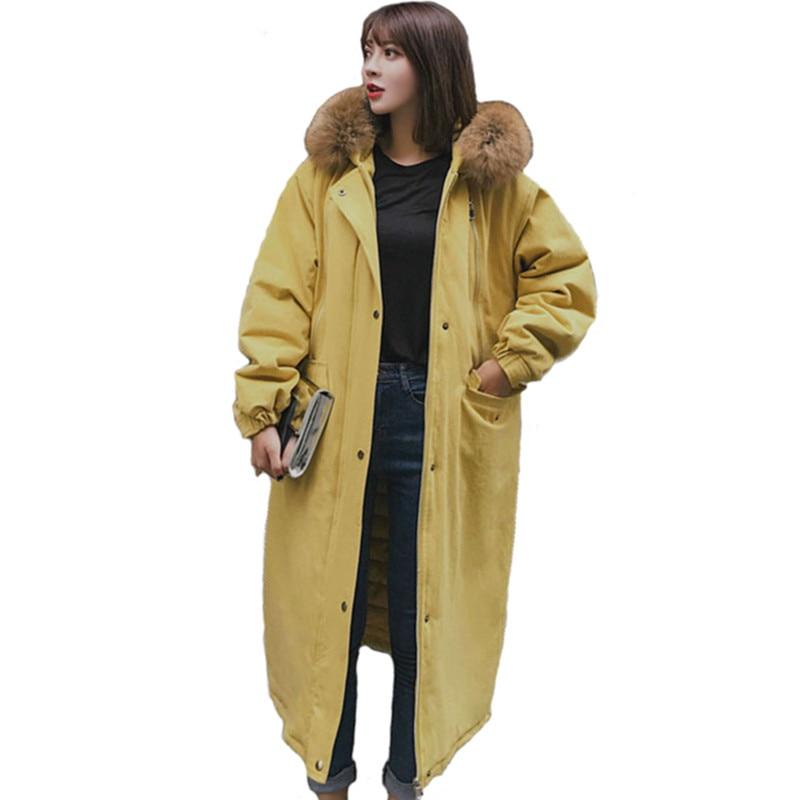 Parkas de talla grande para mujer abrigo de algodón de cuello de piel largo de invierno grueso abrigo suelto con capucha de Safari chaqueta femenina de tela de algodón n155