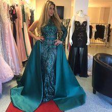 8f31a6f5b Arabian Evening Gowns Sleeves Robe De Soiree Longue Vestido de festa  Pageant Dresses Appliques abiye Prom Gown Detachable Train