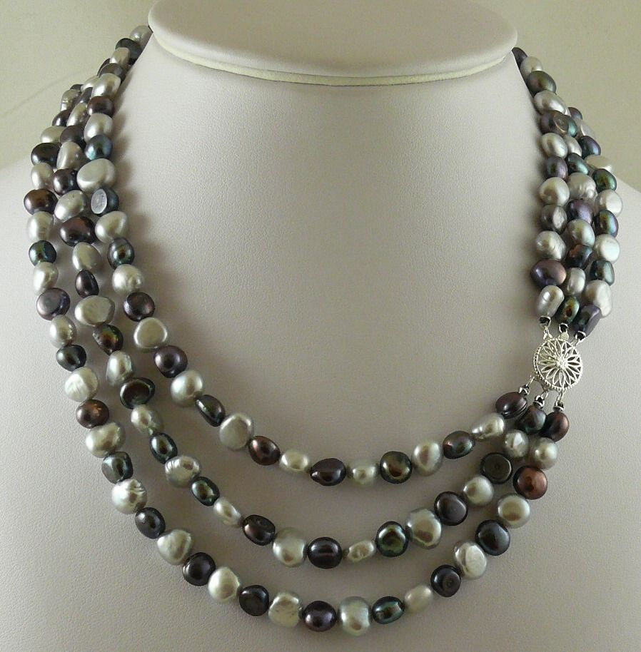 Freshwater Gray & White Pearl Triple Strand Necklace 7-8MM