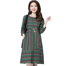 Summer Dress 2017 Real Shot Spring Ukraine Large Size Dress Female Loose Colorful Stripe Cotton and Linen Look Slim Dress Women