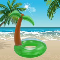 Summer Tropical Island Coconut Inflatable Swimming Ring Pool Float Raft Circle Water Adult Fun Beach Pool 120cm Palm Tree Toy