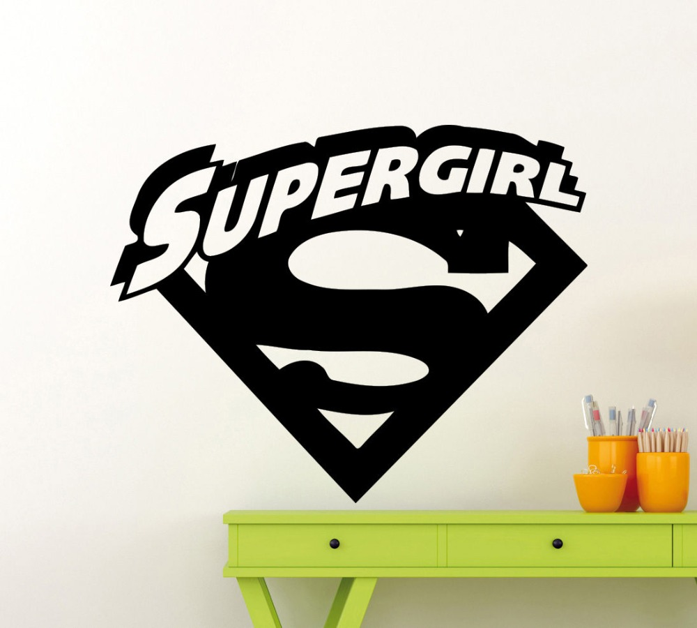 popular superhero wall murals buy cheap superhero wall murals lots superheroes supergirl logo with cool initial wall sticker vinyl wall mural for home room decoration comics