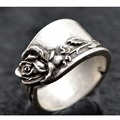 1pc Handmade Vintage Silver Rose Spoon Ring Adjustable Spoon Jewelry R-08
