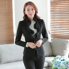 Plus Size 3XL Novelty Black Autumn and Winter Female Pantsuits With Jackets And Pants Professional Formal Business Trousers Set