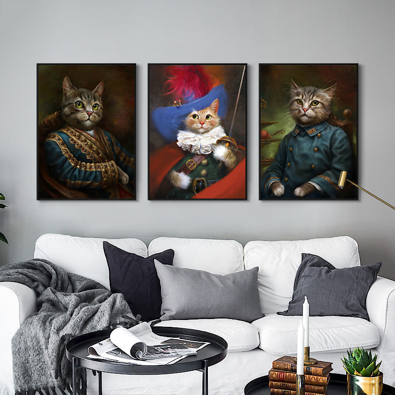 Minimalist Nordic שחור לבן Kawaii כללי חתול אמנות הדפסים פוסט משתלה קיר תמונה ציור בד ציור חדר ילדים לא מסגרת