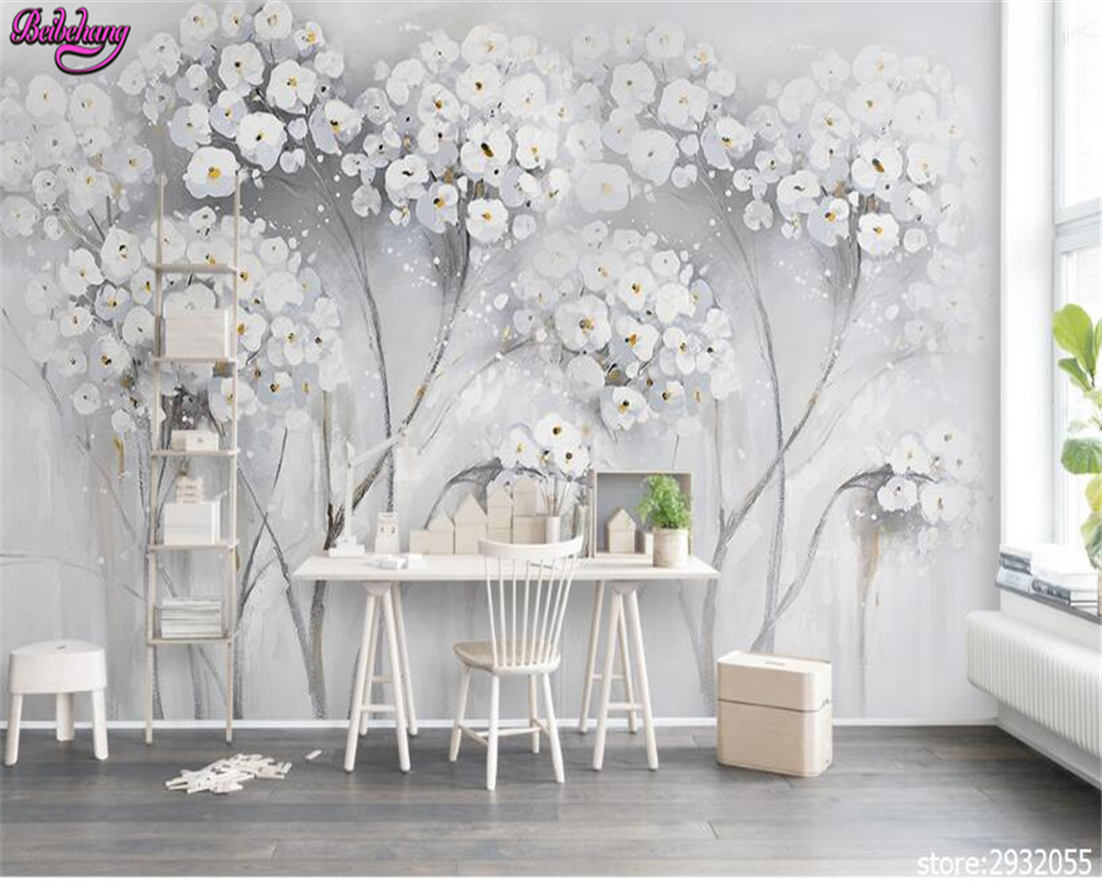beibehang Senior fashion elegant aesthetic painting flowers wallpaper Nordic Fashion TV background wall papel de parede tapety
