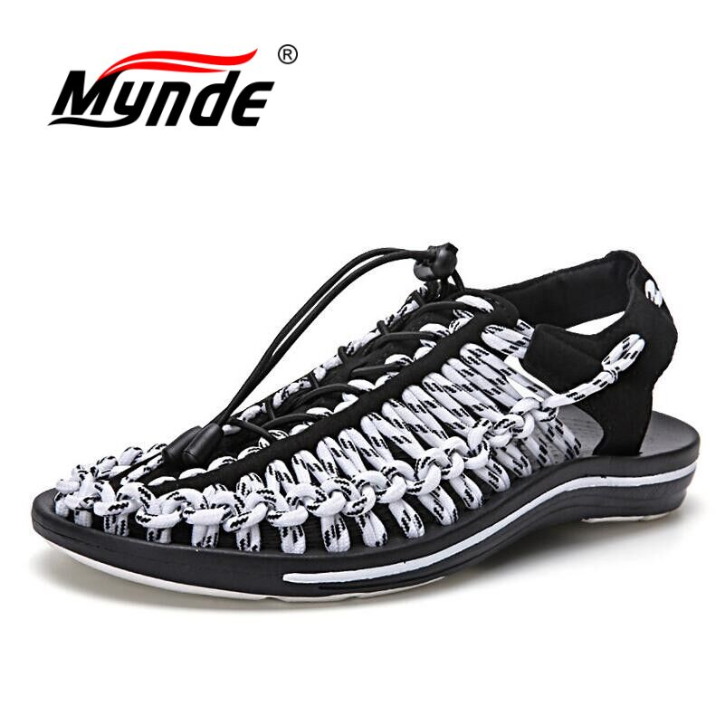 MYNDE 2018 New arrived summer sandals men shoes quality comfortable men sandals fashion design casual men sandals shoes casual men s sandals with striped and velcro design