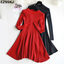 chic Autumn Winter black Sweater Dress Women o-neck Long Sleeve A Line thick Knit mini Dress female girl short bodycon dress(China)
