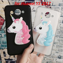 3D Unicorn Quicksand Liquid Soft Silicone Case for Huawei Y3 2017 Phone Cover Cartoon Diamond Funda Coque Fashion Owl Para
