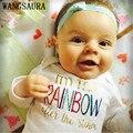 Nuevo Recién Nacido Infantil Del Bebé Muchacho Muchacha Algodón Arco Iris de Manga Larga Monos Mono Kids Clothes Outfit