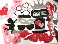 Wedding engagement party pictures photo booth props Rose Love diomond decoration