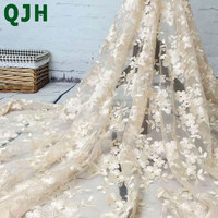 2016 High End Fashion French Lace Fabric High Quality African Tulle Embroidered Flower Transparent Net Lace