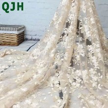 High-end fashion French Lace Fabric High Quality African Tulle Embroidered flower transparent net Lace Fabric For Wedding