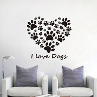Dog Paws Prints Heart Vinyl Wall Sticker Creative Kids Room Wall Decals I Love Dog Art Decals Home Decor Living Room