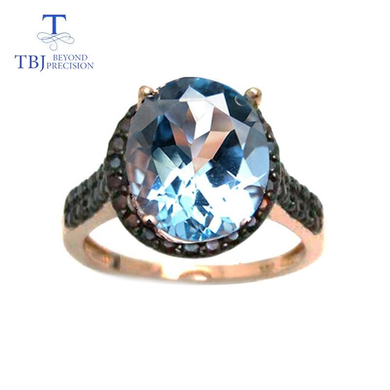 TBJ, ขนาดใหญ่ 5.5ct sky blue topaz ผู้หญิงอัญมณีแหวน 925 เงินธรรมชาติโกเมนหินด้านข้าง, fine เครื่องประดับอัญมณี-ใน ชุดอัญมณี จาก อัญมณีและเครื่องประดับ บน   1
