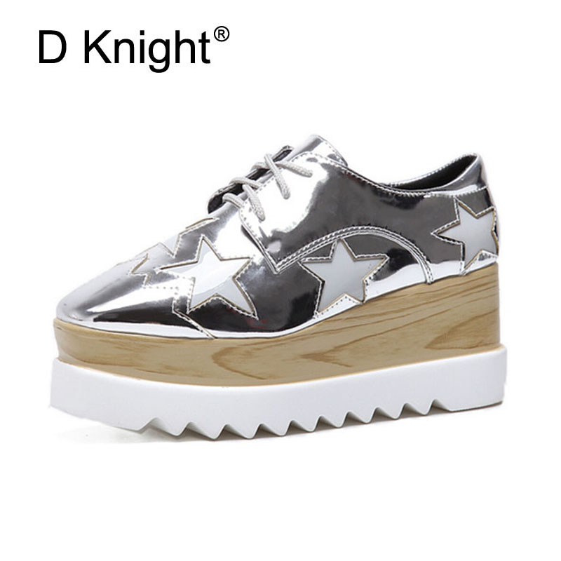 New Women Platform Wedges Shoes Bling Stars Patent Leather High Heels Creepers Lace-up Square Toe Oxfords Shoes For Woman Pumps evans v dooley j enterprise 2 grammar teacher s book грамматический справочник