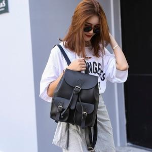 Image 5 - Vintage Women Leather Backpack Female Drawstring School Bag Black Rucksack Brand Shoulder Bags For Teenage Girls Backpacks XA27H