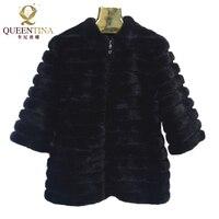 Quality Real Fur Coats Jacket With Zipper Real Natural Mink Fur Coat Women Genuine Mink Fur