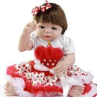 Comercio al por mayor 23 ''Lindo Recién Nacido Realista Muñecas Del Bebé Vestido de La Falda Completa silicona reborn baby girl dolls con el pelo liso para la venta regalos