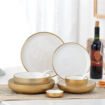 1pcs Nordic Style Ceramic Gold Plate Creative Porcelain Dish Soup Rice Bowl Set Snack Dessert Dinner Plate Cake Tray Tableware cake soup