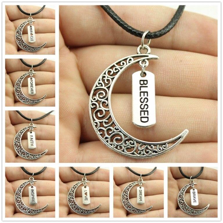 10400d2ee160 WYSIWYG vendimia plata color Crescent Moon etiqueta palabra colgante collar  de cadena de cuero