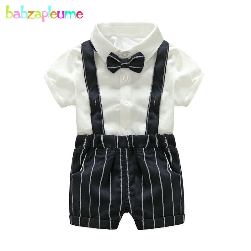 Summer Newborn Clothing Sets Gentleman Fashion Baby Boys Suits Short Sleeve Cotton T-shirt+stripe Overalls Infant Clothes BC1227