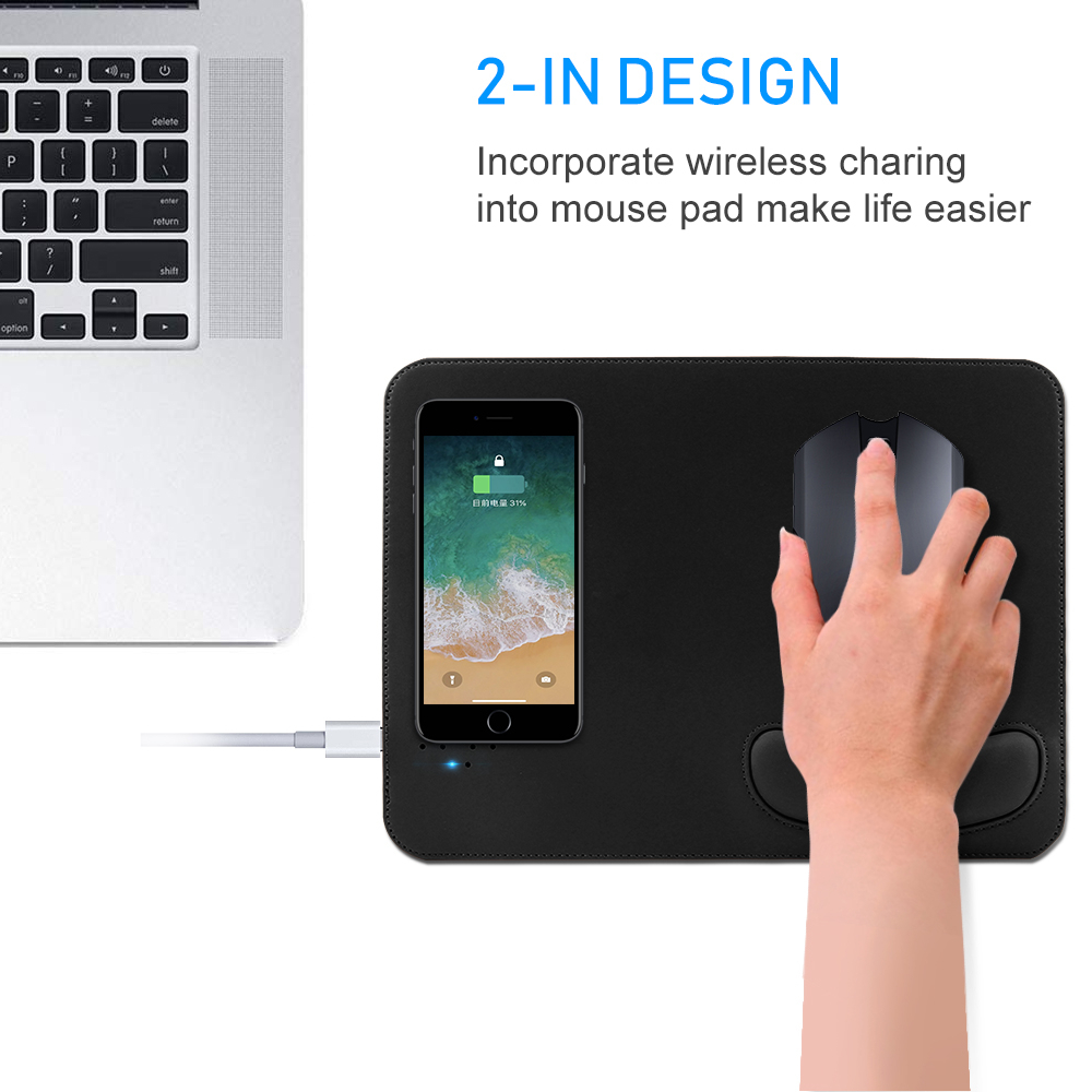 Mobile Phone Qi Wireless Charger Charging Mouse Pad Mat PU Leather Wrist Rest <font><b>Mousepad</b></font> For IPhone X Samsung S8 Plus <font><b>Xiaomi</b></font> Phone image