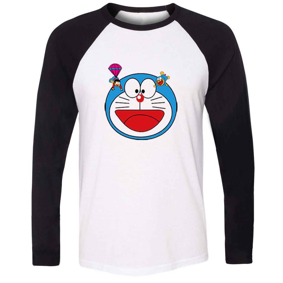 US $12 99 OFF IDzn Uni Spring Autumn Jepang Kartun Doraemon Nobi Nobita Pola T Shirt Kasual Patchwork Panjang Lengan Kaos Pria Kemeja Pria