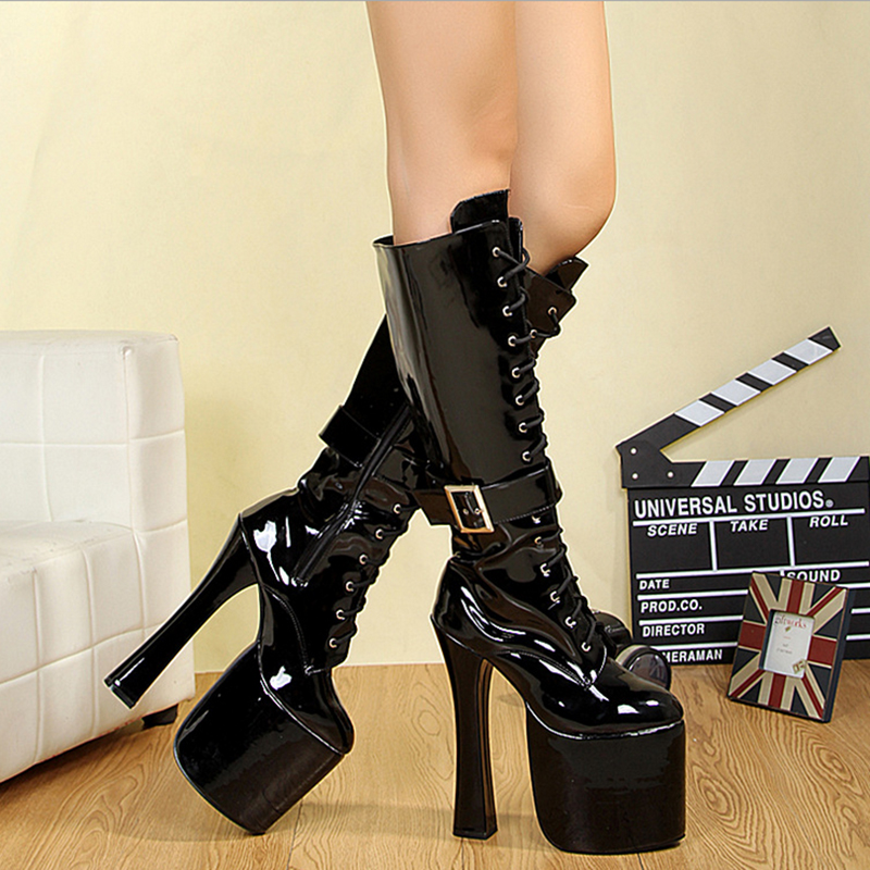 Boots Women Shoes Platform Thick High Heels Mid Calf Boots Glossy Lace Up Fashion Fenty Beauty Gothic Shoes Ladies Winter Boots gaozze fashion women socks boots mid calf thick high heels boots women comfortable elastic knitted fabric female boots brand