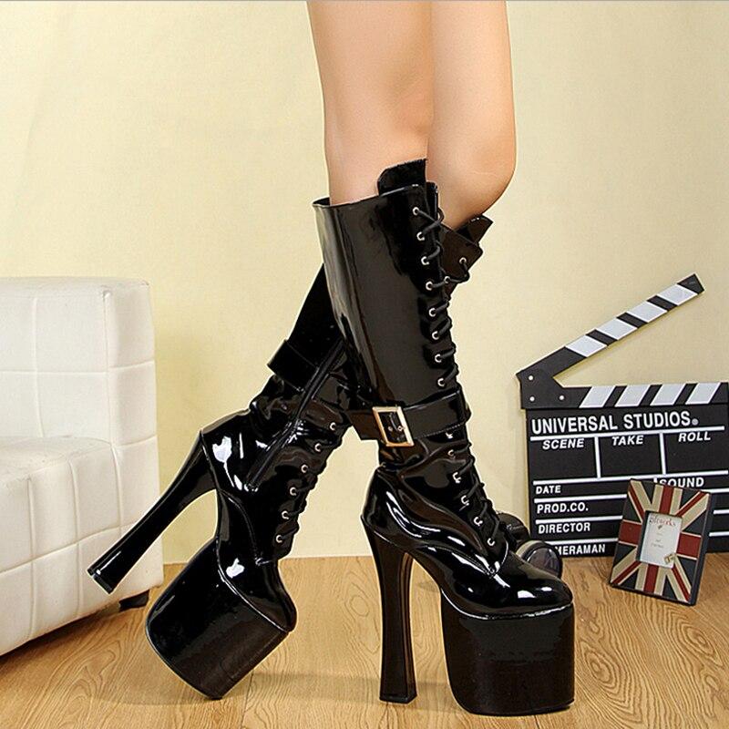 Bottes à plate-forme femmes chaussures talons hauts mi-mollet bottes en cuir mode Fenty beauté chaussures gothiques dames bottes d'hiver grande taille 43