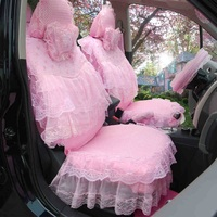 Women Pink Flower Lace Skirt Car Seat Covers Cushion Pad 3D Mesh Cover 19 Pieces Front