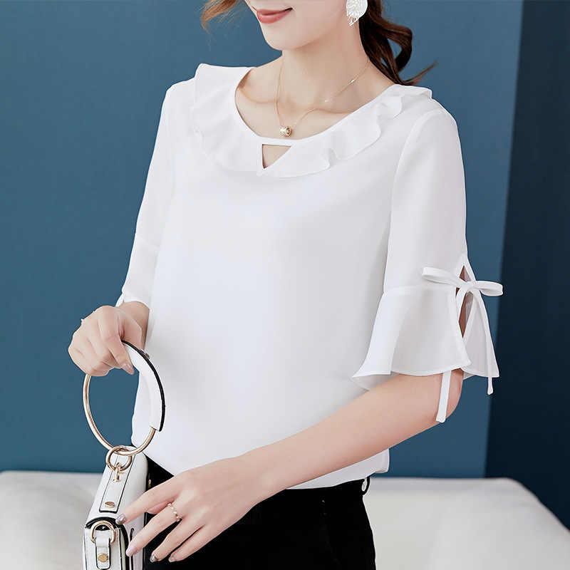女性カジュアルシフォンシャツとブラウス半袖 2019 夏新スリムフリルシャツ固体女性半袖シャツ