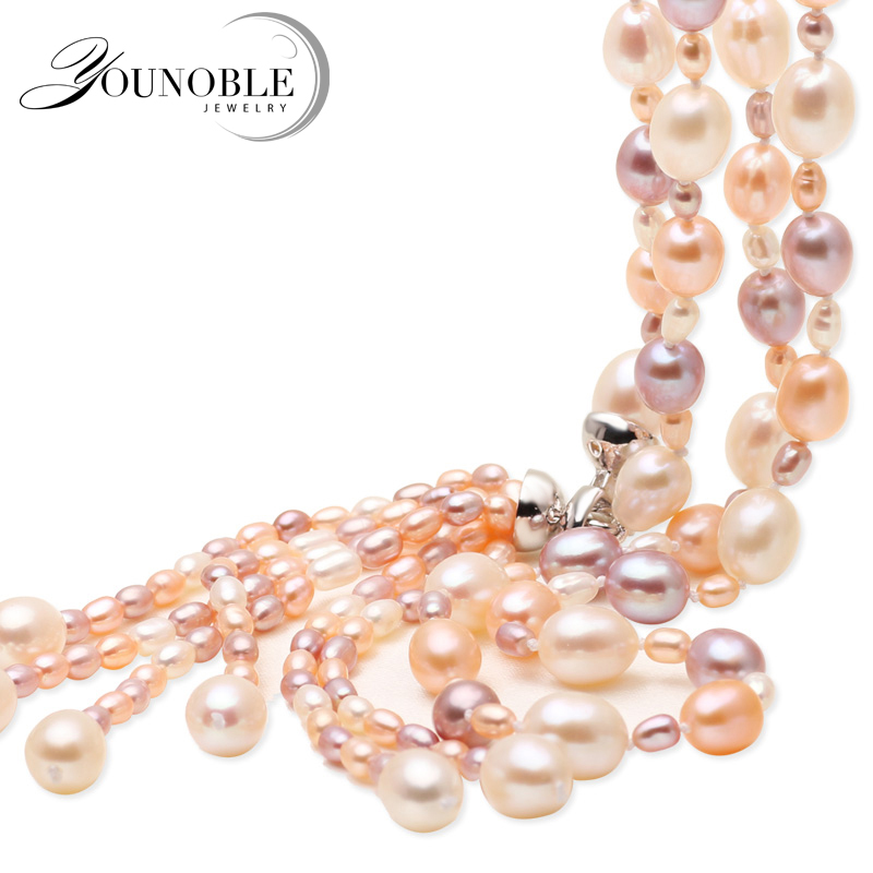Real multi color tassel natural freshwater pearl necklace for women,white long pearl necklace jewelry 100% natural freshwater pearl jewelry set white color real freshwater pearl necklace bracelet earrings handmade lady s jewelry