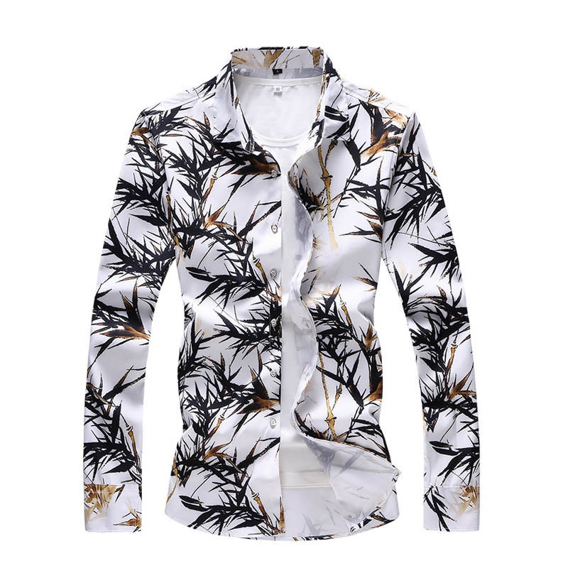 Autumn New Men Casual Long Sleeved Bamboo Printed Shirt Male Social Elegant Dress Shirt Men Clothing Plus Size 5XL 6XL 7XL